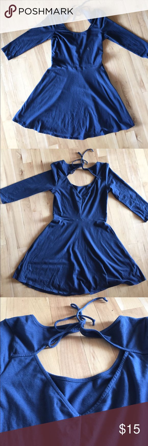 Navy blue skater dress Navy blue with a string tie in the back(open) American Eagle Outfitters Dresses Mini