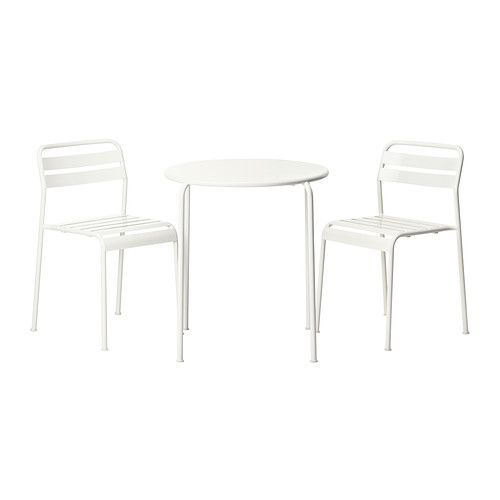 ROXÖ Table and 2 chairs, white