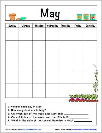 May Calendar for Kids (Free Printable) - Buggy and Buddy