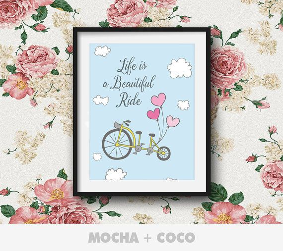Life is a Beautiful Ride Poster, Kids Wall Art, Cute Children's Wall Decor, Nursery Room, Printable Mocha + Coco, INSTANT FILE DOWNLOAD