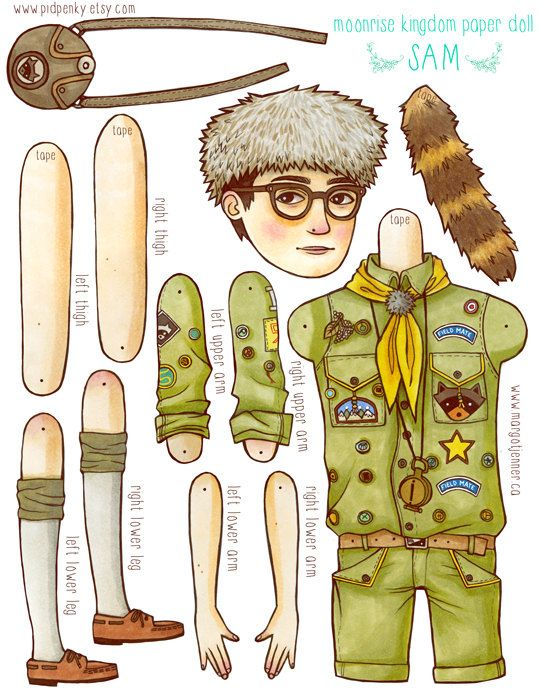 Sam From Moonrise Kingdom Paper Doll Digital File by pidpenky