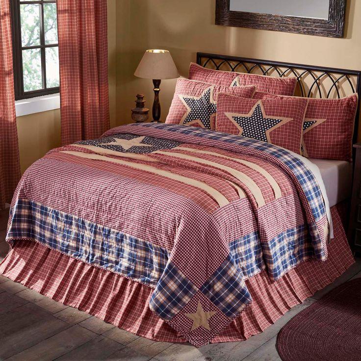 Victory Americana Queen Size 3 Pc Quilt Set 100% Cotton Patchwork Reversible   #VhcBrands #patriotic