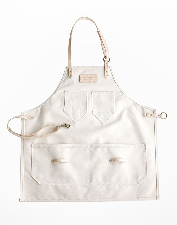 Natural Canvas & Leather Apron / Made in Atlanta / Andover Trask