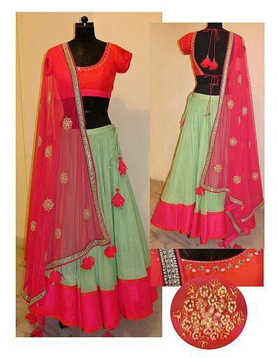 cotton candy & mint chaniya choli