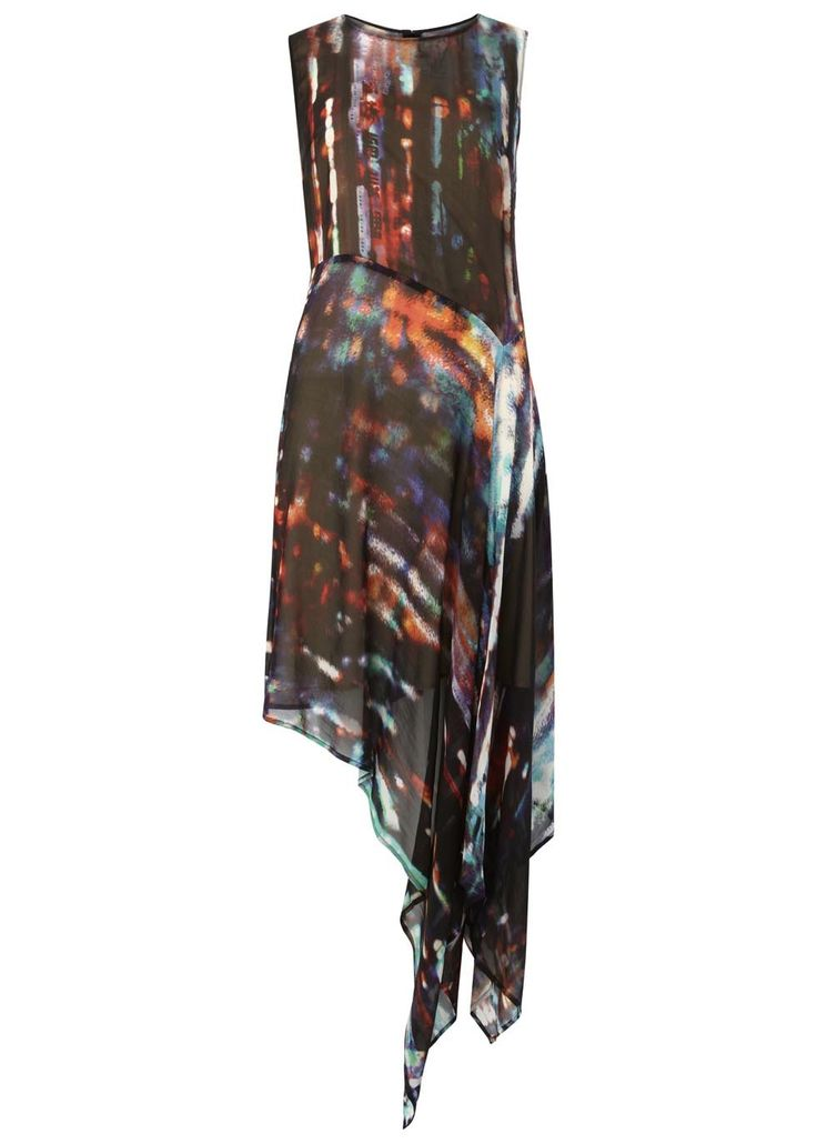 McQ Alexander McQueen City Lights printed asymmetric silk dress