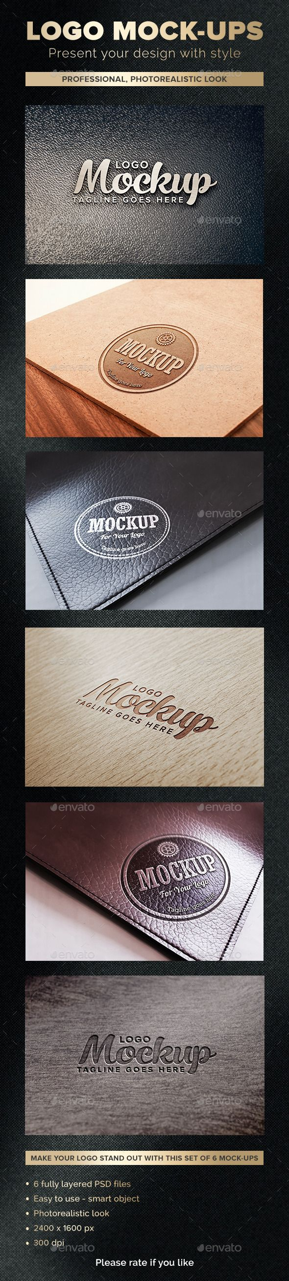 "Make your logo stand out with this set of 6 mock-ups! How to use it: Just double click on ""YOUR LOGO HERE"" layer, replace the content with your logo, and than click ""Save"". #logo #mockups"