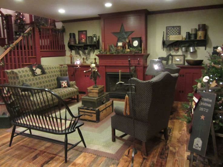 Many fun things!Keep Room, Decor Ideas, Primitives Country Living Room, Colonial Living Room Furniture, Primative Living Room, Primitives Decor, Primitives Christmas, Primative Room, Country Living Room Decor