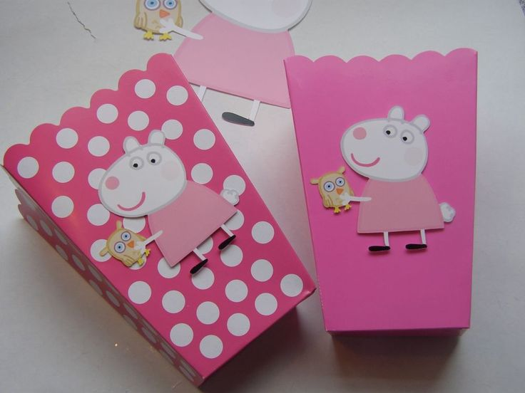 Pink Peppa Pig 10 Popcorn Bags Boxes Birthday Girl Gift Party Favors Free STRAWS #BirthdayChild
