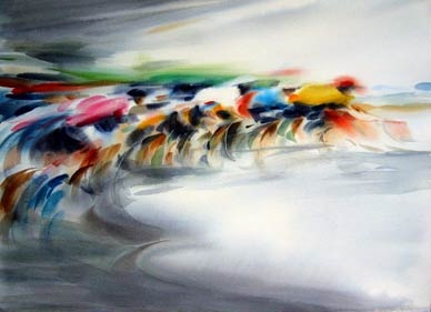 """""""A Turn to the Right"""" by Doug Lew. 8"""" x 20"""" Watercolor Original. The peloton rounds the corner at full speed, a blinding flash of colors pedaling full out. Info: http://www.spiritofsports.com/product/CCL-A-01486/A_Turn_to_the_Right?referrer=gallery"""