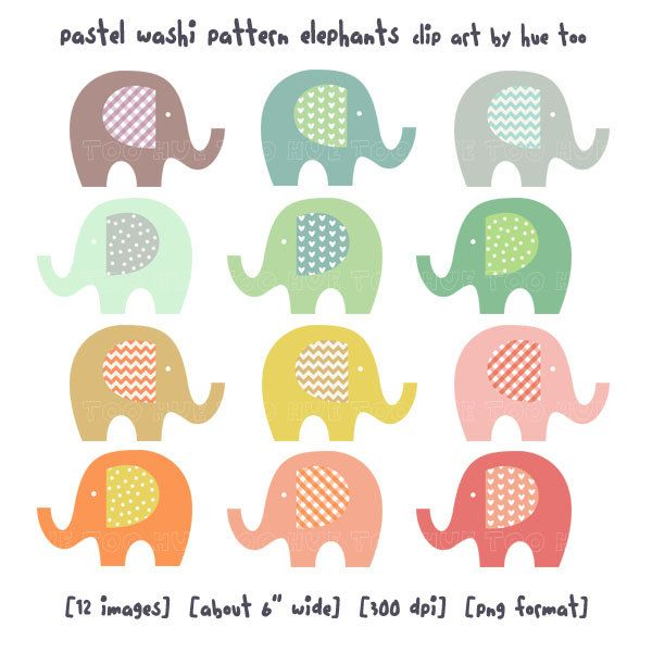 elephant clip art, baby elephant clipart, pastel washi tape pattern polka dot chevron gingham heart, cute images for invitations baby shower. $7.00, via Etsy.