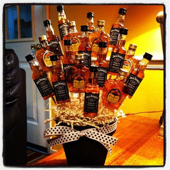 Man flowers! I think this would be a perfect gift for any man of age... college graduation, 21+ birthday, retirement party. I love this idea!