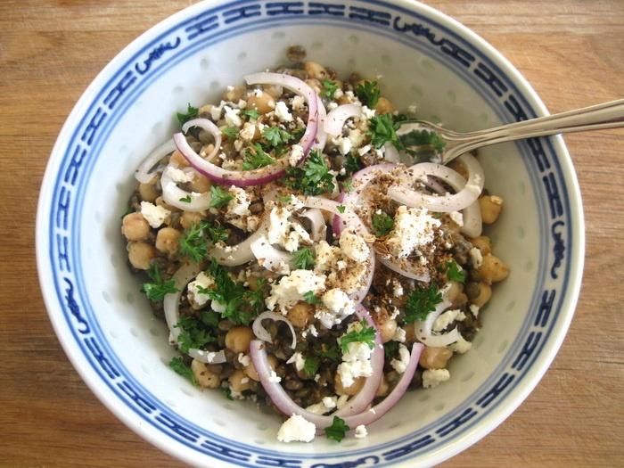Chickpea, Lentil and Tahini Salad