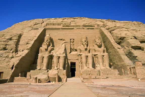 in 1817, a circus strongman named Giovanni Belzoni uncovered the buried entrance to the great temple of Abu Simbel. This entrance was precisely aligned with the sun so as to light up three of the statues within for two days of the year.