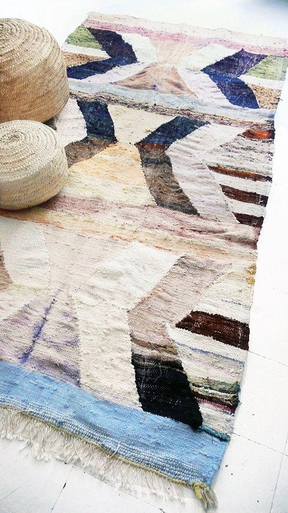 Kilim marocain Vintage  tapis BOUCHEROUITE  naturel