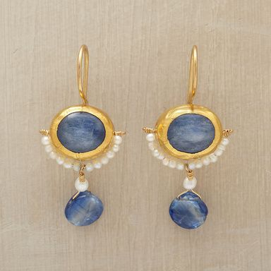 """MOONSHADOW EARRINGS--A crescent of seed pearls reflects the brilliance of kyanite and iolite. 24kt French wires. Made by Nava Zahavi exclusively for Sundance. 1-3/8""""L."""