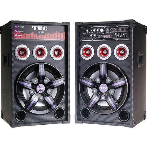 Shoptime Caixa Amplificada TRC 388 Com 500W, Radio FM, Karaokê, Bluetooth, 2 Microfones - R$535,77