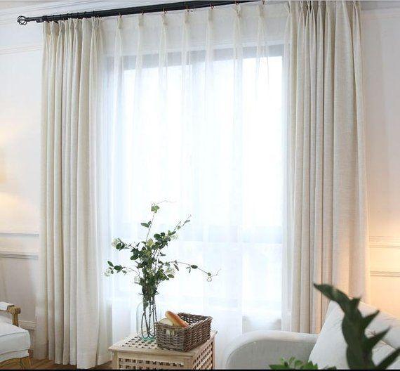 White Flax Blend Linen Drapes Custom Linen Curtains Etsy Curtains Living Room Drapes Curtains Custom Drapes