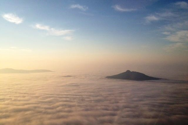 Pilot Mountain, above clouds