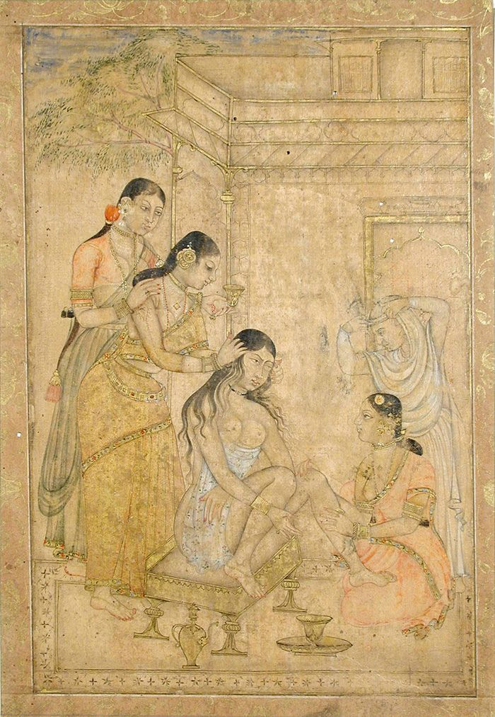 A Young Woman's Toilette  Display Title: A Young Woman's Toilette.  Opaque watercolor and gold on paper.  Creation Date: last quarter 17th century.    State-Province: Andhra Pradesh . Court: Golconda.  School: Deccani. Edwin Binney 3 Collection, San Diego Museum of Art
