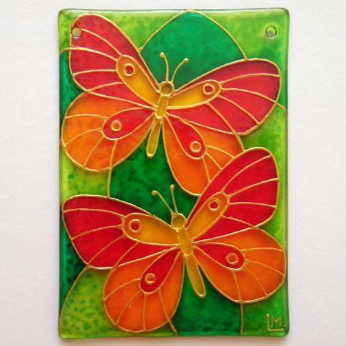 Motýlci.... :o) Ručně malovaná vitráž (rozměr cca 10 x7 cm).* Glass Hand Painted*