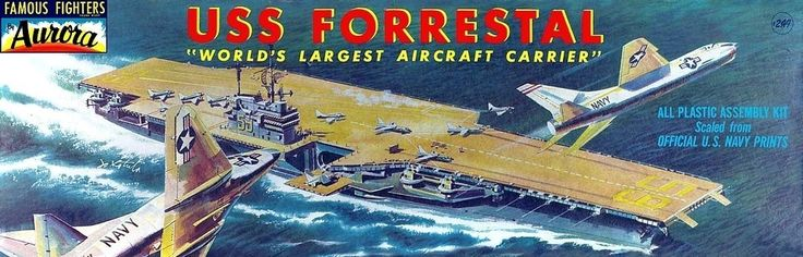 Aurora aircraft carrier USS Forrestal (CV-59) Vintage Model Kit.