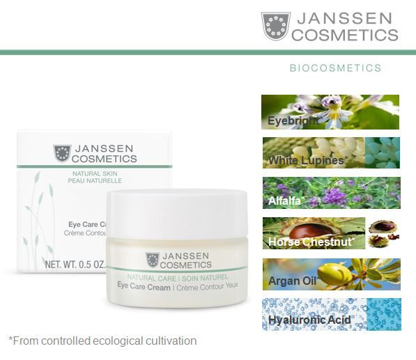 Eye Care Cream • Specially formulated from Organic ingredients • Ideal treatment for dark circles and puffiness • Vitalizes the delicate skin around the eye • Diminishes fine lines and wrinkles • Suitable for Vegans http://www.janssen-cosmetics-shop.ie/biocosmetics/eye-care-cream.html