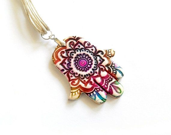 Hamsa necklace pendant, colorful, tie-die effect, polymer clay, hippie jewelry