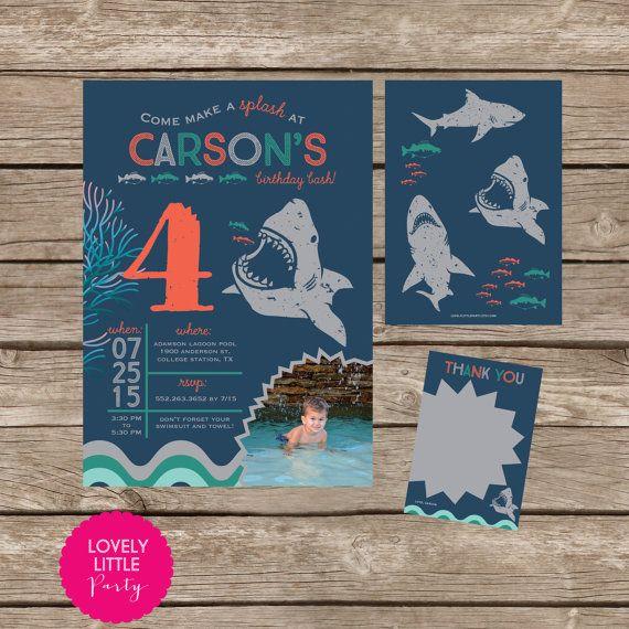 Para imprimir tiburón azul cumpleaños por lovelylittleparty en Etsy