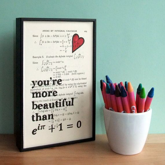 Euler's Identity Romantic Geek Art on vintage book page on Etsy, $41.73