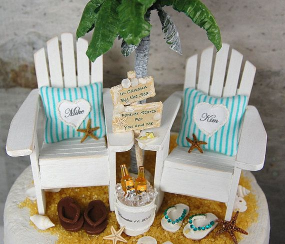 beach beverage wedding cake topper custom by memoriesnminiature on beach wedding. Black Bedroom Furniture Sets. Home Design Ideas