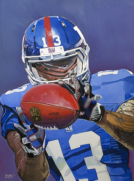 Odell Beckham Jr New York Giants, watercolor painting by Michael Pattison