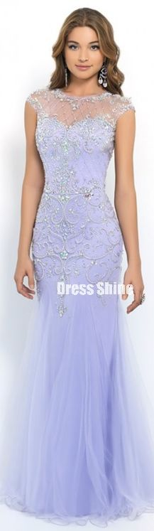 2015. Scoop Neck, Fitted Bodice And Beaded. Beautiful Lavender Mermaid Trumpet Tulle Prom Dress.