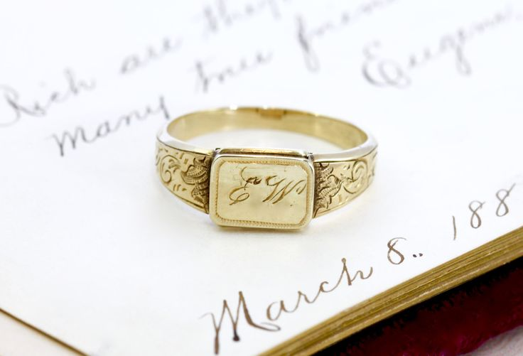 Antique Locket Signet Ring, Victorian 14k Yellow Gold, Rare Love Token Gift Engraved Initials E. W., Dated December 24, 1853, Bridal Jewelry by TheEdenCollective on Etsy https://www.etsy.com/listing/232874584/antique-locket-signet-ring-victorian-14k