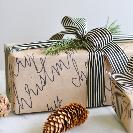 If you've got Kraft paper & a sharpie - you've got yourself some pretty wrapping paper!