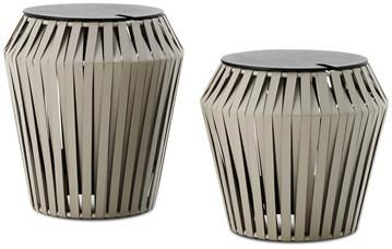 Valencia side table with storage, grey bonded leather/black-stained oak veneer.