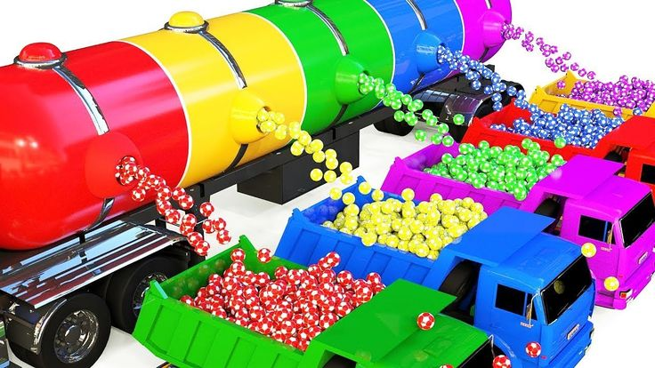 Colors Learn for Children with with Dump Truck and Soccer Ball