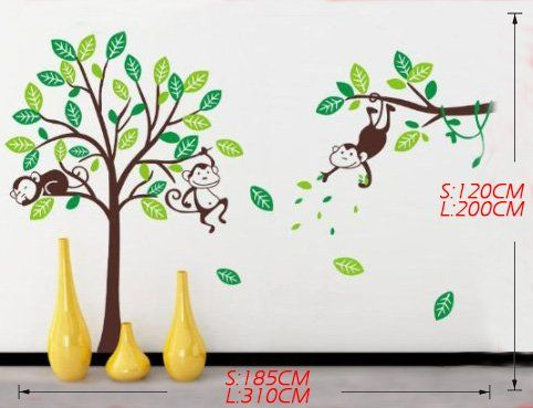 Great WallStickersDecal Dschungel Wald Tier Affe u Baum Wandtattoo Wandaufkleber cm H gro e
