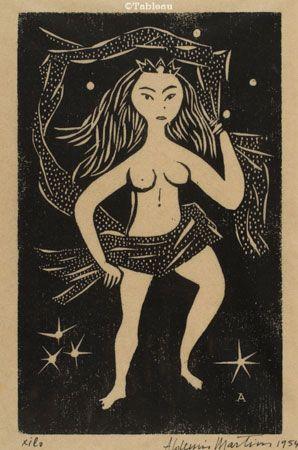 Aldemir Martins. Princesa. Xilogravura, 24x15 cm