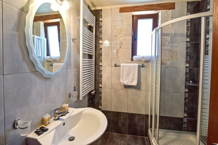 A bathroom with shower