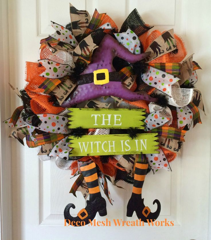 Witch Wreath, Halloween Wreath, Deco Mesh Halloween Wreath, Paper Mesh Halloween Wreath, Witch Leg Wreath, Halloween Decor, Fall Wreath by DecoMeshWreathWorks on Etsy