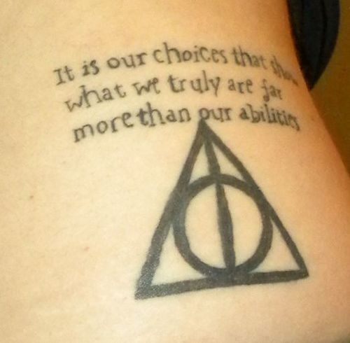 Dumbledore quote tattoo and the Deathly Hallows