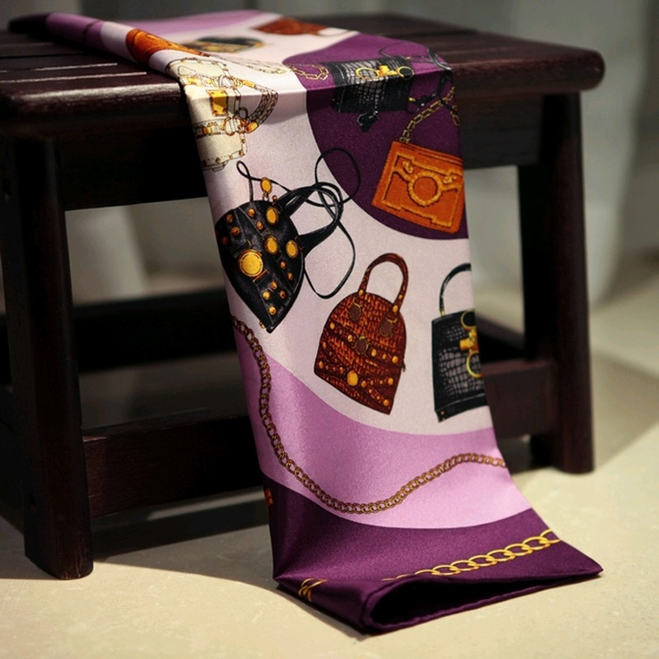 Pansy Silk scarf,100% Silk Square Scraf With Twill,fit for womens