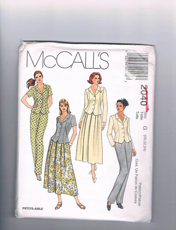 McCall's 2040 Misses Unlined Top Pull On Skirt and Pants