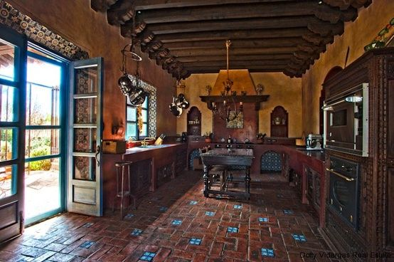 Spanish kitchen love tile floor kitchen ideas for Rustic kitchen floor ideas