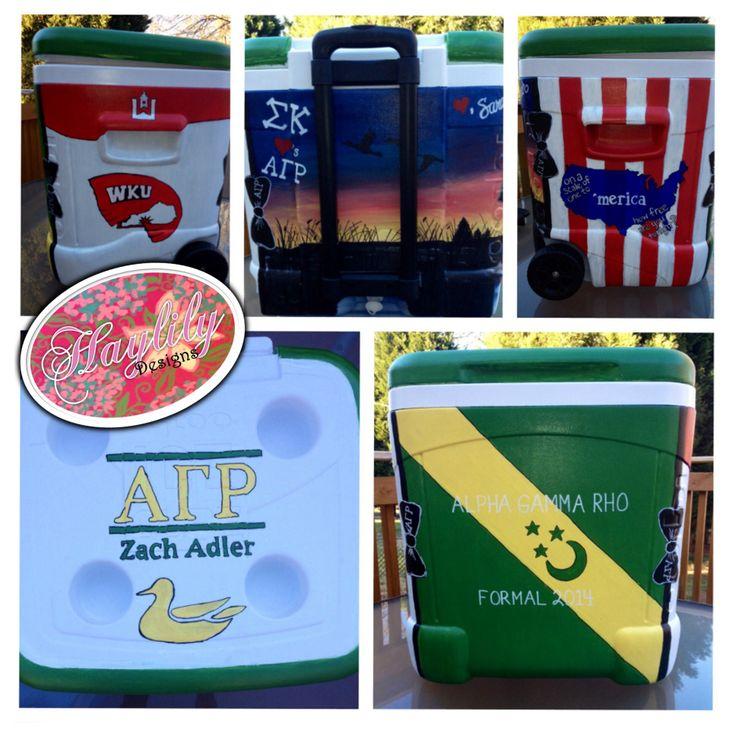 Alpha Gamma Rho custom #painted #frat #cooler Western Kentucky #Toppers #duck hunting #AGR #WKU #Merica #HaylilyDesigns