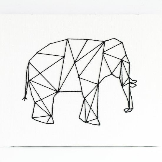 Straight Line Drawing Easy : Geometric stitched animal art this whimsical can be