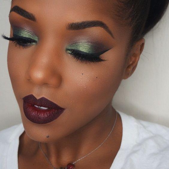 maquiagem para pele negra | Maquiagem para pele negra, Maquiagem pra pele negra, Maquiagem batom preto