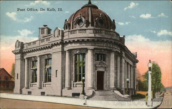 Colorized Version Of The Old Dekalb Il Post Office At