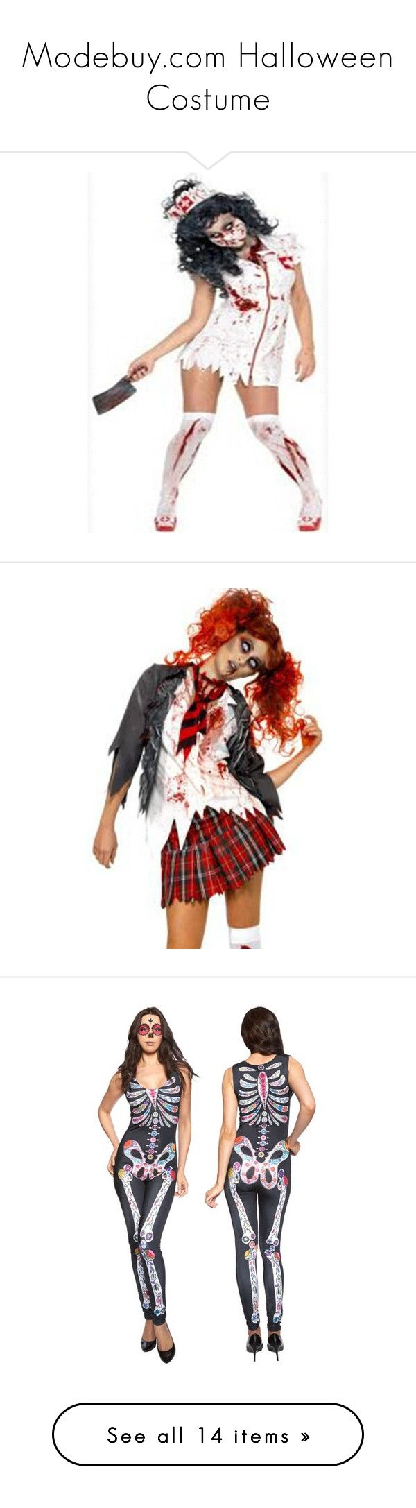"""Modebuy.com Halloween Costume"" by modebuy ❤ liked on Polyvore featuring modebuy, costumes, white nurse costume, living dead costume, adult costumes, zombie costume, nurse costume, schoolgirl costume, zombie school girl costumes and zombie school girl"