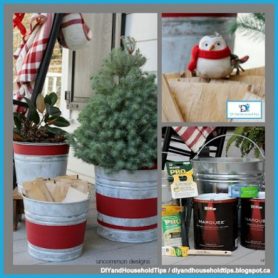 DIY And Household Tips: Vintage Stripe Aged Galvanized Buckets